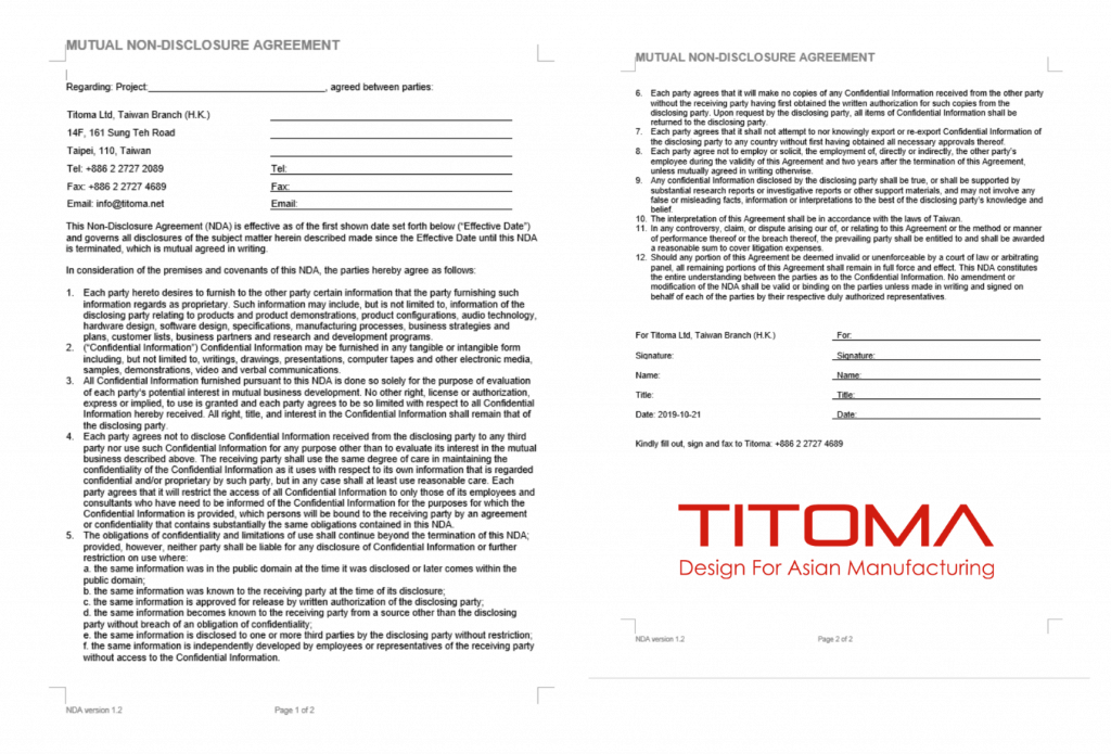 Design and manufacturing NDA for Taiwan China Template