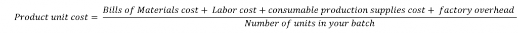Equation to calculate your product cost