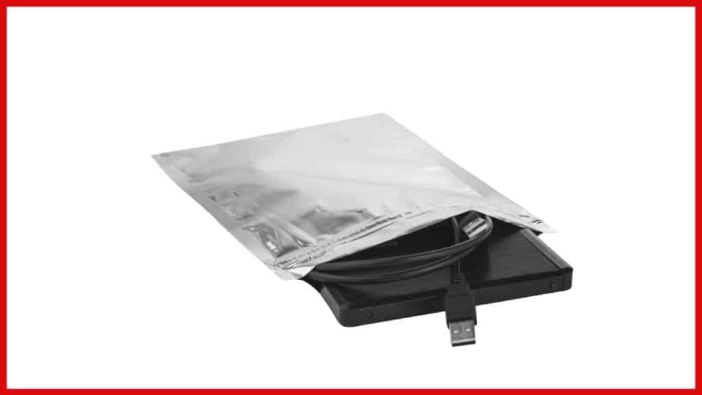 electronics in a foil sealed bag